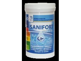 САНИФОРТ - бърз хлор, 75 таблетки за дезинфекция на вода в плувни басейни и контрол на алгите (водораслите)
