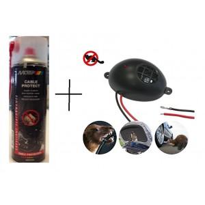КОМПЛЕКТ: Спрей за защита на кабелите на автомобилите MOTIP 500 мл. + Електронен уред прогонващ мишки, плъхове и белки в транспортни средства Gardigo на най-добра цена