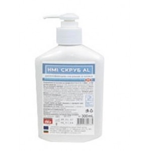 СКРУБ АЛ ХМИ (HMI® SCRUB AL) - 300 мл. Дезинфектант на алкохолна основа 72% етанол за хигиенна и хирургична дезинфекция на ръце и кожа с дълготрайно действие на най-добра цена