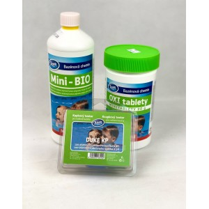 Комплект за безхлорна БИО дезинфекция на вода в плувни басейни - Азуро Mini-Bio, Azuro Oxi Tabs MINI, тестер за pH и O2 на най-добра цена