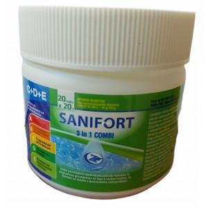 САНИФОРТ 3 в 1 КОМБИ МИНИ бавен хлор, 20 таблетки х 20 гр. за поддържаща дезинфекция на вода в плувни басейни, за контрол на алгите и физическите замърсявания на най-добра цена