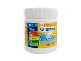 САНИФОРТ - 0.500 кг. бърз хлор, гранулат с мерителна лъжичка, за дезинфекция на вода в плувни басейни (с морска, със сладка или минерална вода)