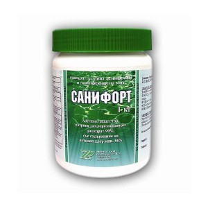 САНИФОРТ - 1 кг. гранулат за дезинфекция на питейна вода и вода в плувни басейни с мерителна лъжичка на най-добра цена