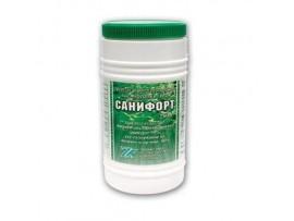 САНИФОРТ -бърз хлор,  250 гр. гранулат за дезинфекция на питейна вода и вода в плувни басейни с мерителна лъжичка
