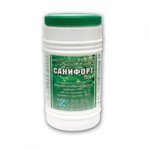 САНИФОРТ - 250 гр. гранулат за дезинфекция на питейна вода и вода в плувни басейни с мерителна лъжичка на най-добра цена
