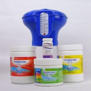 Комплект за басейн - Санифорт Комби, PH+, PH-, Плаващ диспенсър с термометър, Тест ленти 50 бр. на най-добра цена